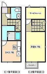 [テラスハウス] 三重県四日市市富士町 の賃貸【/】の間取り
