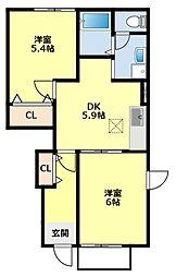 愛知県豊田市永覚新町1丁目の賃貸アパートの間取り