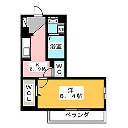 OKUEII 2階1Kの間取り