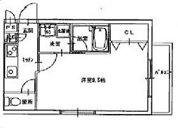 JR宇野線 大元駅 徒歩9分の賃貸マンション 4階1Kの間取り