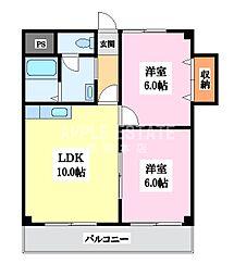 マンションサンパール[6階]の間取り
