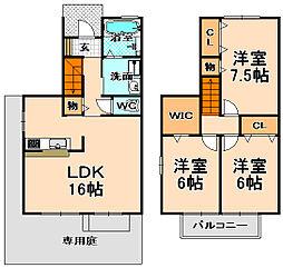 [テラスハウス] 兵庫県伊丹市荒牧南2丁目 の賃貸【/】の間取り