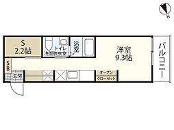 JR山陽本線 広島駅 徒歩23分の賃貸マンション 2階ワンルームの間取り