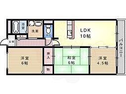 南海高野線 初芝駅 徒歩15分の賃貸マンション 1階3LDKの間取り