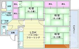 ケヤキハイツ1 2階3LDKの間取り