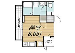 JR総武線 西千葉駅 徒歩7分の賃貸アパート 1階ワンルームの間取り