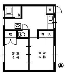 コーポふじ[2階]の間取り