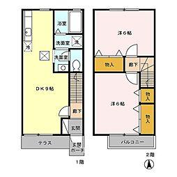 [テラスハウス] 東京都あきる野市小川 の賃貸【/】の間取り