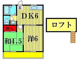 千葉県松戸市串崎南町の賃貸アパートの間取り