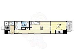 Osaka Metro谷町線 南森町駅 徒歩4分の賃貸マンション 7階1DKの間取り