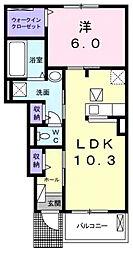 愛知県岡崎市美合町字五本松の賃貸アパートの間取り