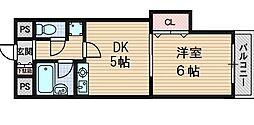 大阪府大阪市東淀川区柴島1丁目の賃貸マンションの間取り
