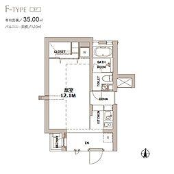 エスセナーリオ表参道 3階ワンルームの間取り