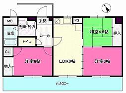 愛知県清須市阿原宮東の賃貸マンションの間取り
