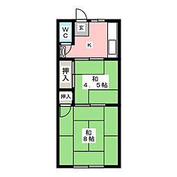 高清荘[2階]の間取り