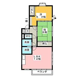 YFハイツA[2階]の間取り