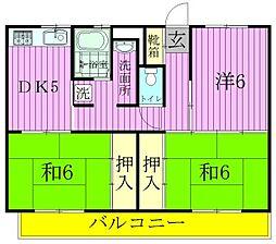 ビレッジハウス串崎[1-206号室]の間取り