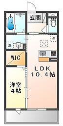 JR山陽本線 高島駅 徒歩13分の賃貸アパート 2階1LDKの間取り