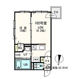札幌市営東西線 西11丁目駅 徒歩14分の賃貸マンション 1階1LDKの間取り