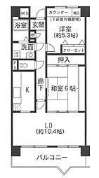 大阪府八尾市東山本町4丁目の賃貸マンションの間取り