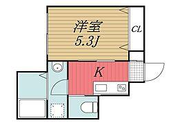 千葉都市モノレール 天台駅 徒歩6分の賃貸アパート 1階1Kの間取り