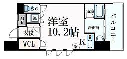 Osaka Metro御堂筋線 淀屋橋駅 徒歩8分の賃貸マンション 5階1Kの間取り