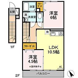 瀬谷区阿久和西3丁目 ウェストグランツIII203号室[2階]の間取り