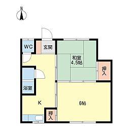 若月アパート[203号室]の間取り