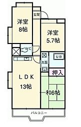 富士スカイハイツ[102号室]の間取り