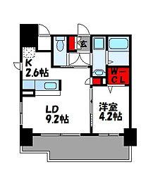JR篠栗線 柚須駅 徒歩21分の賃貸マンション 9階1LDKの間取り