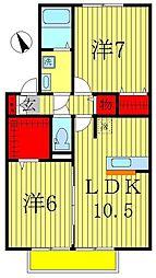 オベルジーヌC[2階]の間取り