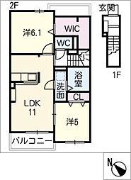 プラシード D棟[2階]の間取り