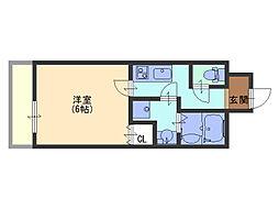 uro 玉造II[2階]の間取り
