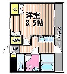 岡山県倉敷市福島の賃貸マンションの間取り