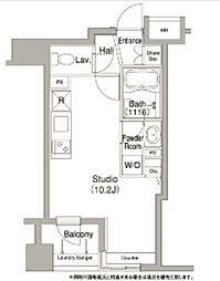 都営浅草線 宝町駅 徒歩8分の賃貸マンション 6階ワンルームの間取り