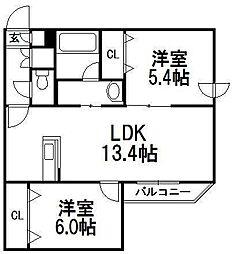 オルセー厚別中央VI[4階]の間取り