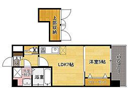 西鉄貝塚線 香椎宮前駅 徒歩1分の賃貸マンション 6階1LDKの間取り