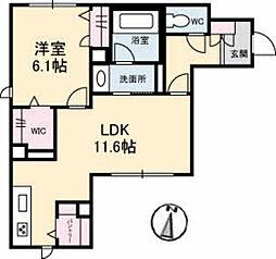 バス 井口四丁目下車 徒歩10分の賃貸マンション 1階1LDKの間取り