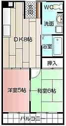サンコーポ熊本[503号室]の間取り