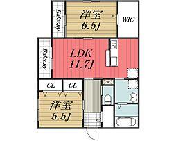 京成本線 公津の杜駅 徒歩19分の賃貸マンション 1階2LDKの間取り