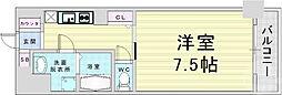 JR東西線 大阪天満宮駅 徒歩7分の賃貸マンション 6階1Kの間取り