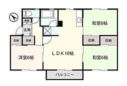 ラ・ネージュ函館C 2階3LDKの間取り