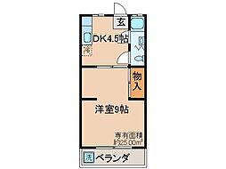 京都府京都市山科区東野中井ノ上町の賃貸マンションの間取り