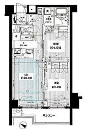 JR山手線 目黒駅 徒歩6分の賃貸マンション 2階2LDKの間取り