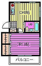 文蔵KFマンション[201号室]の間取り