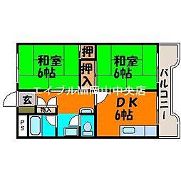 岡山県岡山市中区原尾島丁目なしの賃貸マンションの間取り