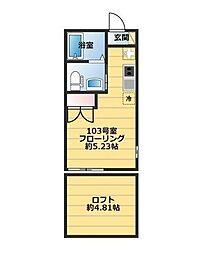 神奈川県横浜市金沢区瀬戸の賃貸アパートの間取り