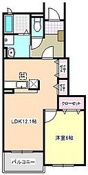 ソレアードI B棟[1階]の間取り