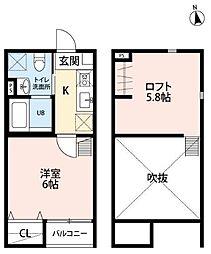 JR常磐線 仙台駅 徒歩13分の賃貸アパート 1階1Kの間取り