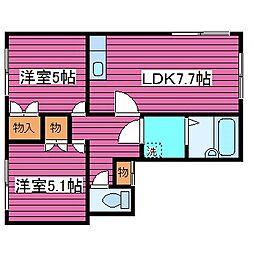 北海道札幌市東区北三十六条東10丁目の賃貸アパートの間取り